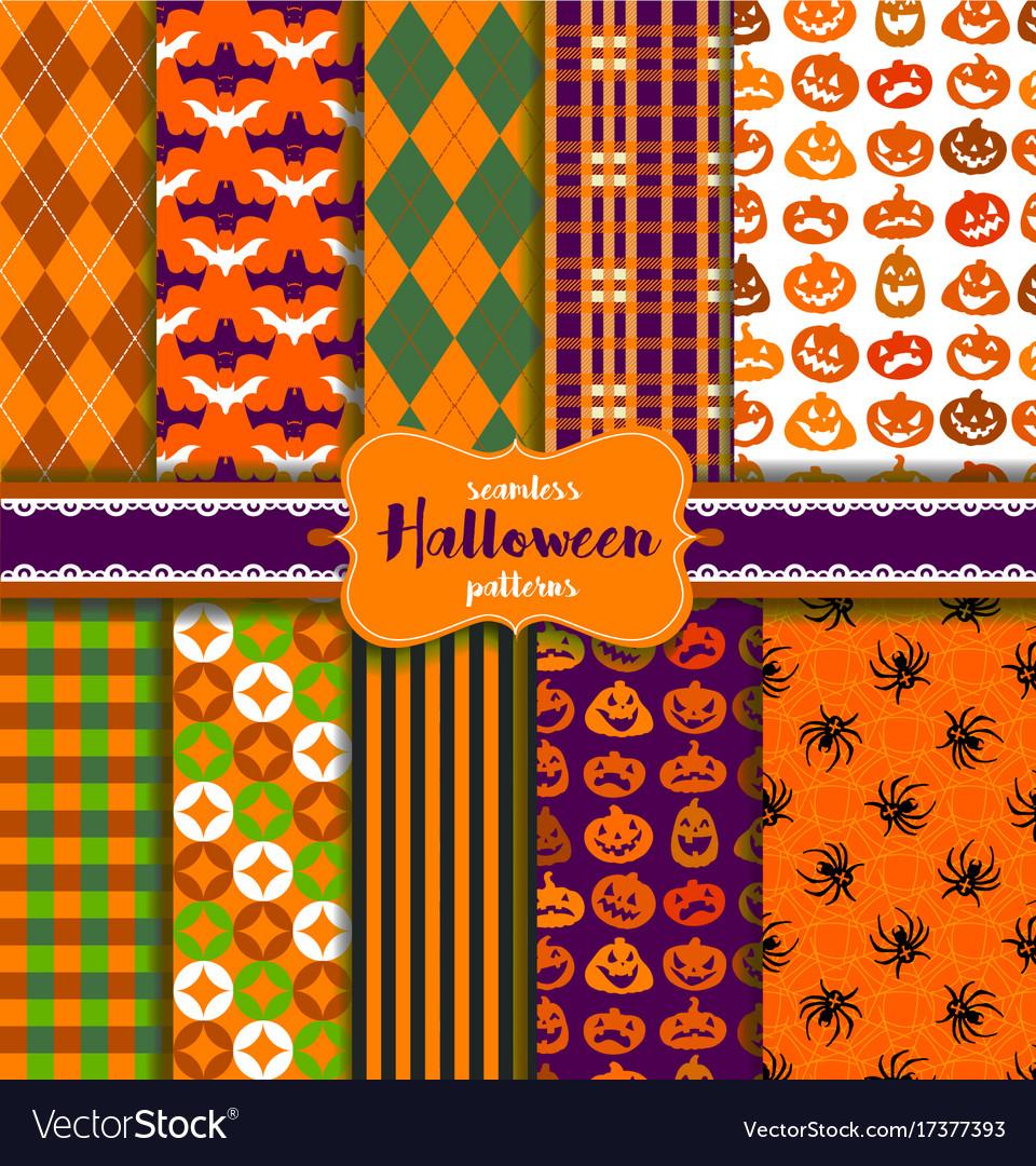 Set of seamless halloween patterns vector image