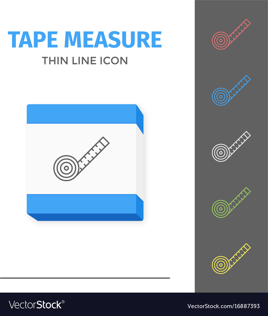 Simple line stroked tape measure icon