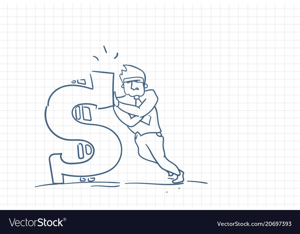 Sketch business man standing at big dollar sign