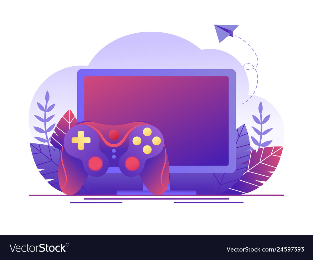Video gaming online games computer screen and