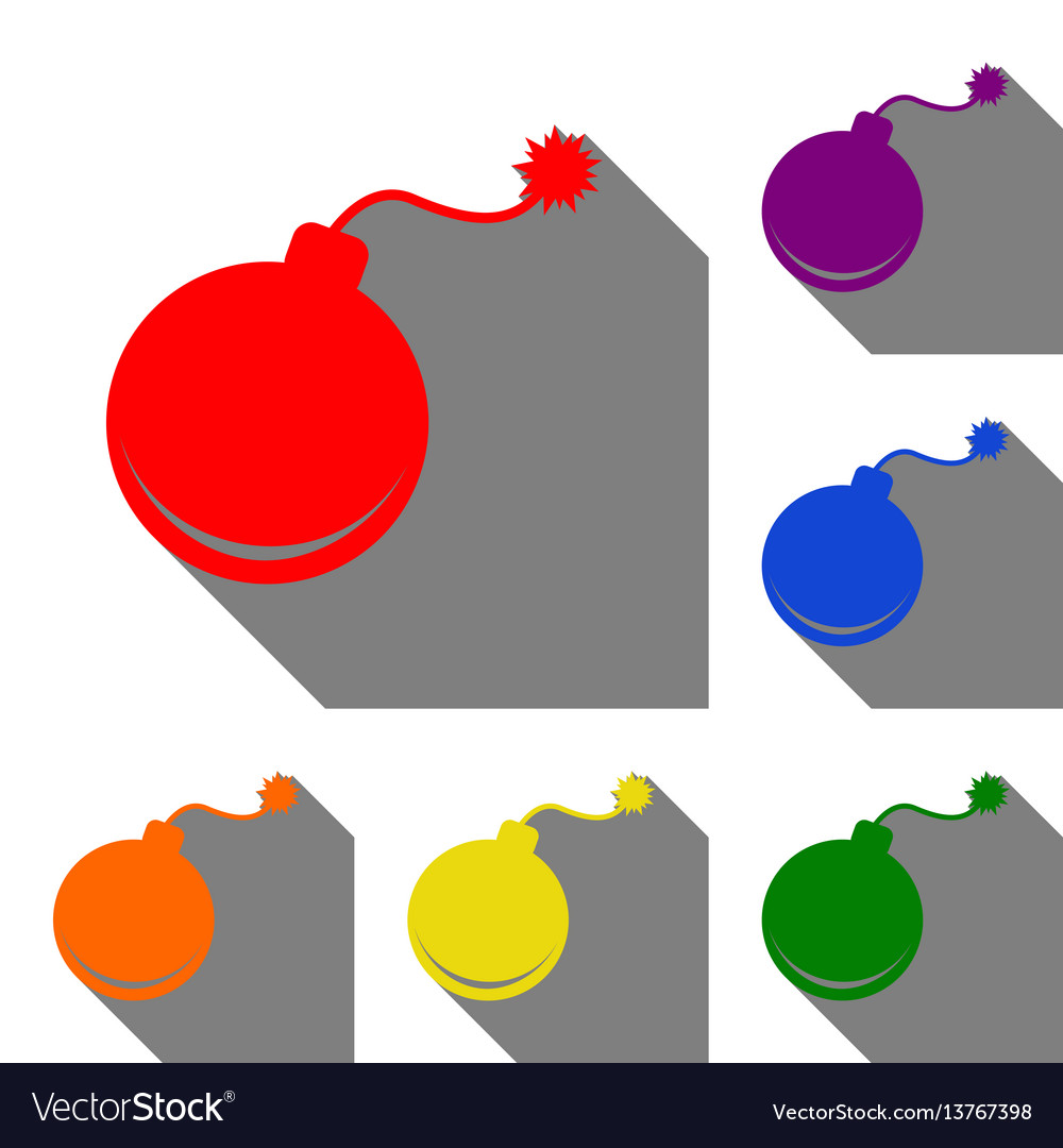 Bomb sign set of red orange yellow vector image