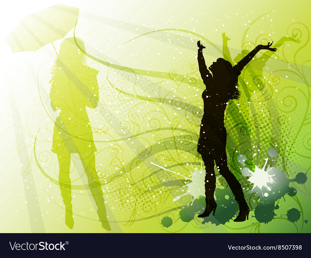 Bright Green Backdrop with a Silhouette of a Girl