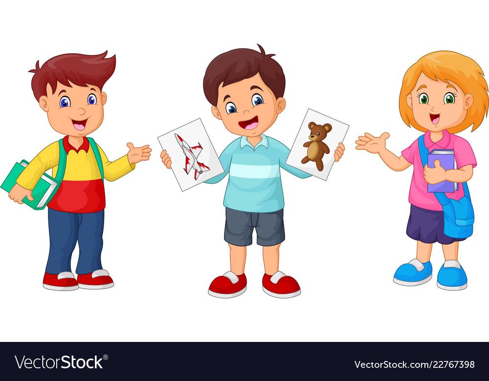 Cartoon school children