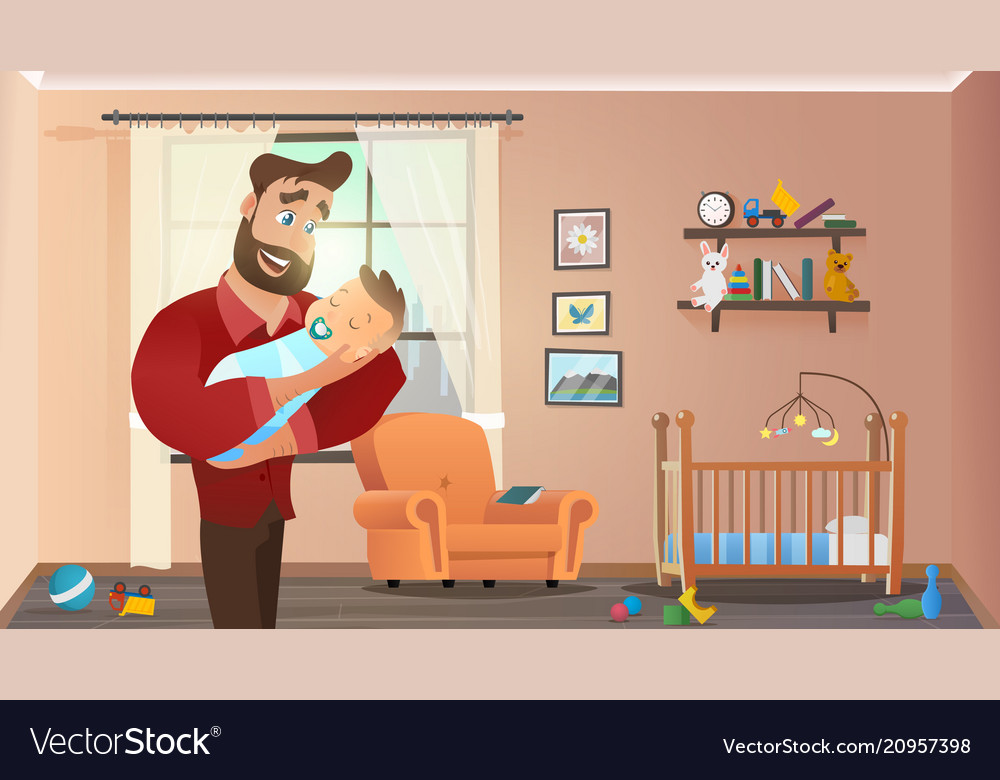 Father holding son at home interior child room