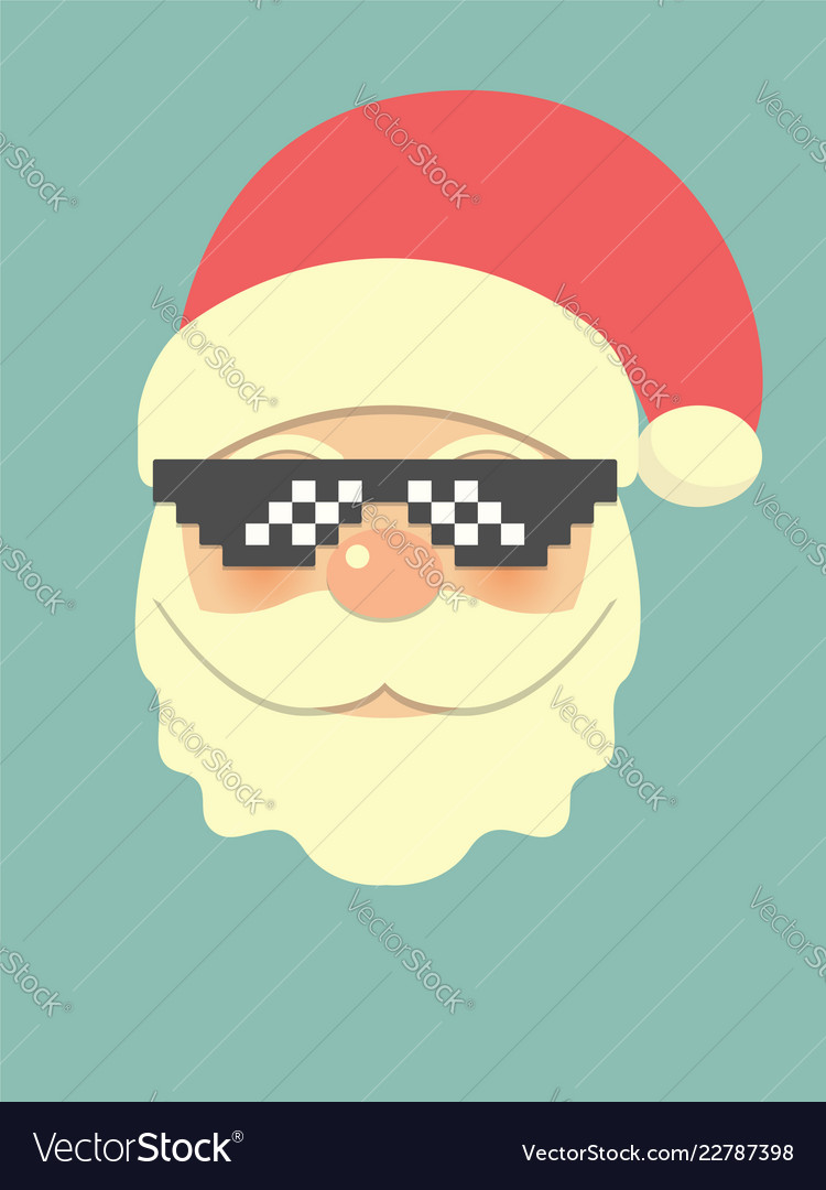Hipster santa claus with cool beard and pixel