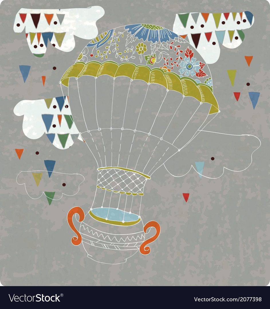 Hot Air Balloon in sky with tea cup and abstract
