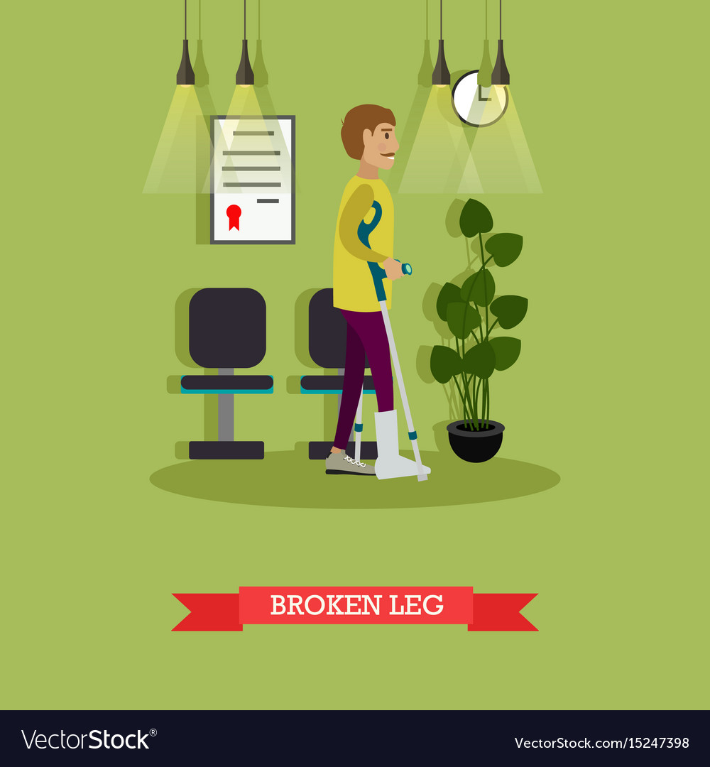Man with broken leg in flat