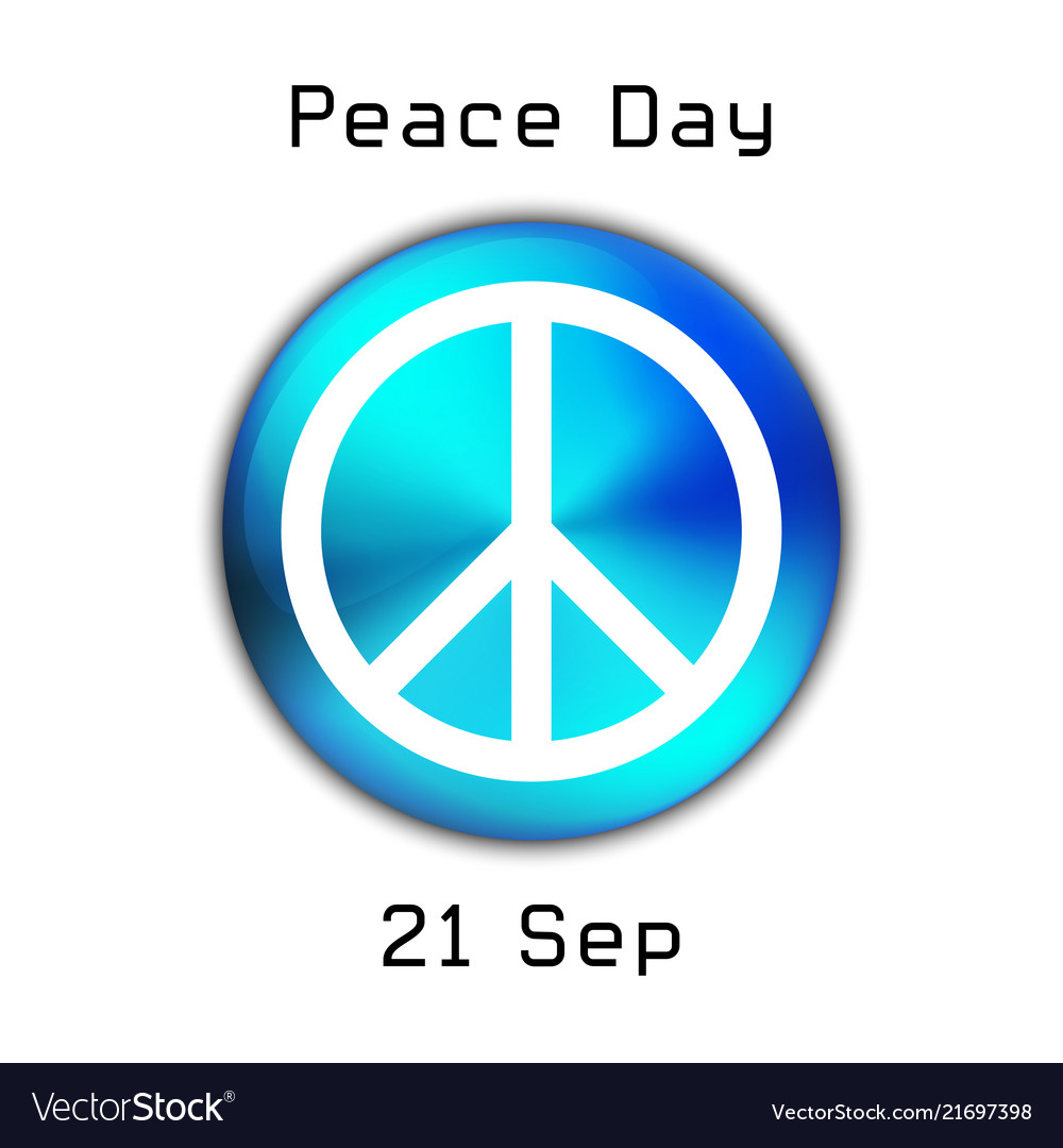 Peace day logo on blue button