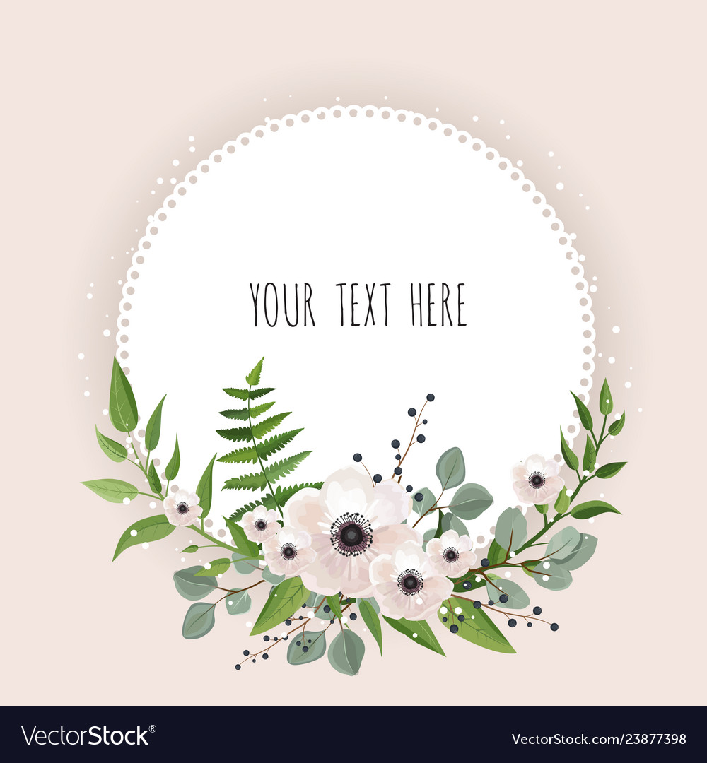 Round floral label frame arranged from leaves and