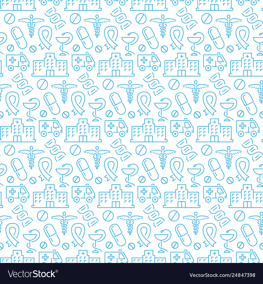 Seamless pattern with icons medical items
