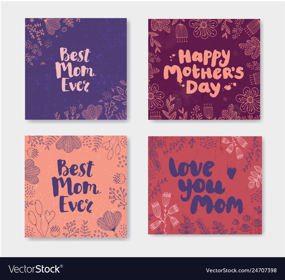 Set of mother s day doodle cards hand