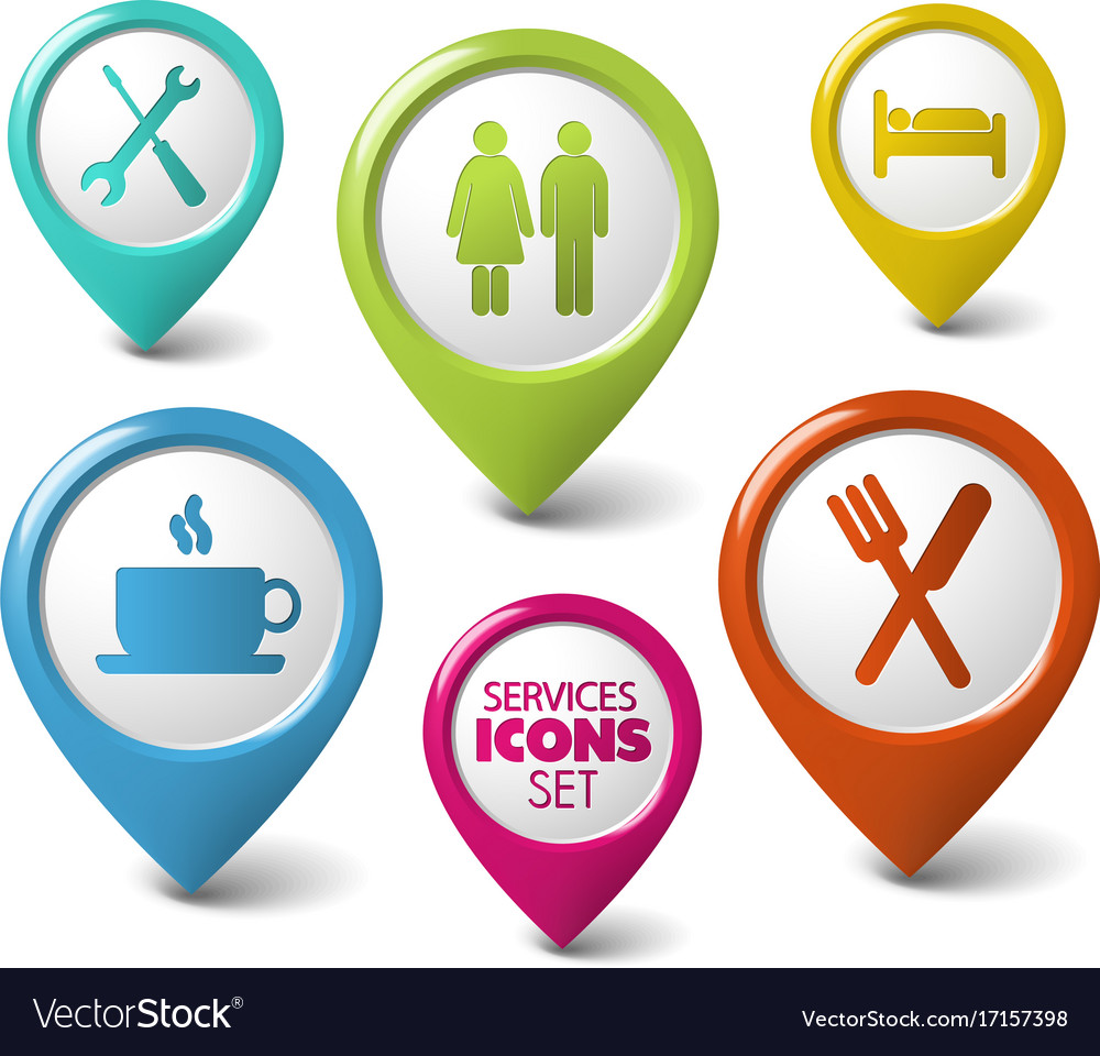 Set of round 3d pointers for services vector image