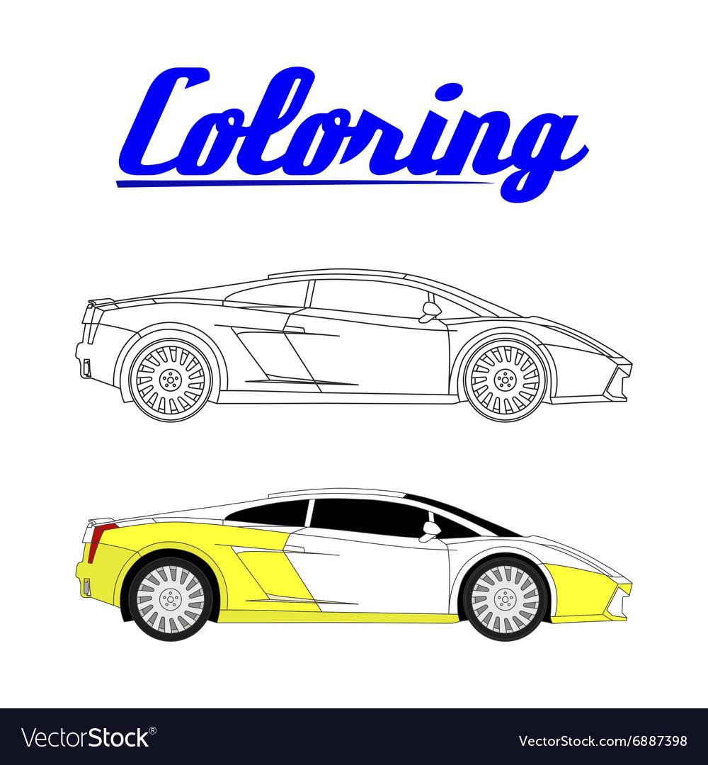 Sport car - Coloring book Royalty Free Vector Image