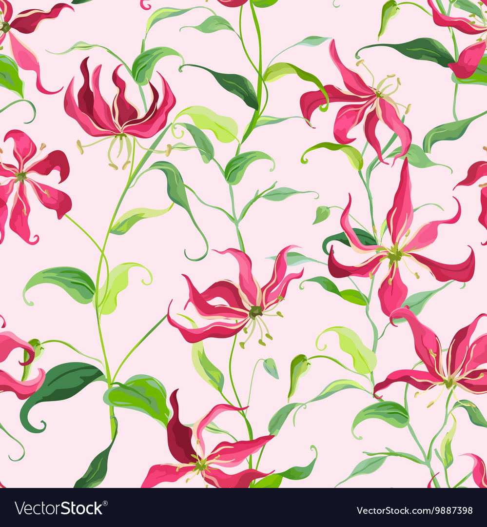 Tropical leaves and floral background fire lily vector image izmirmasajfo