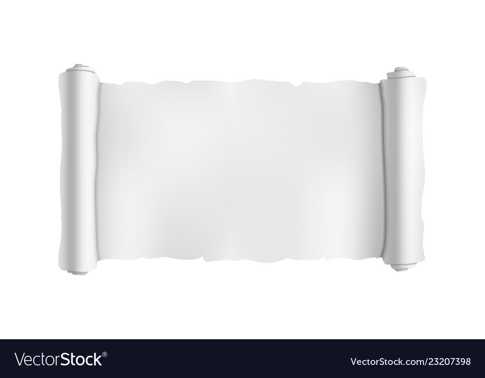 wide blank old scroll blueprint roll template on vector image