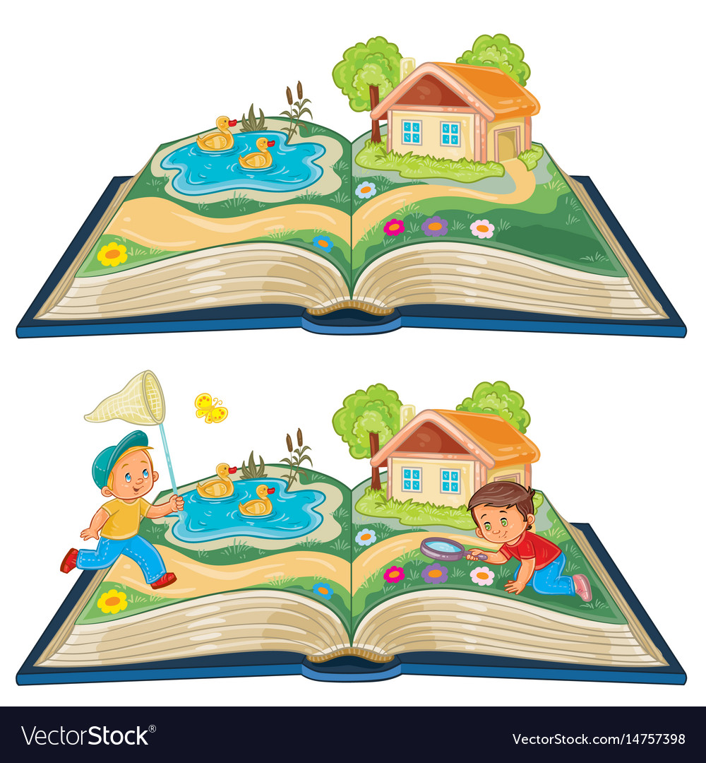 Young children studying nature as an open book