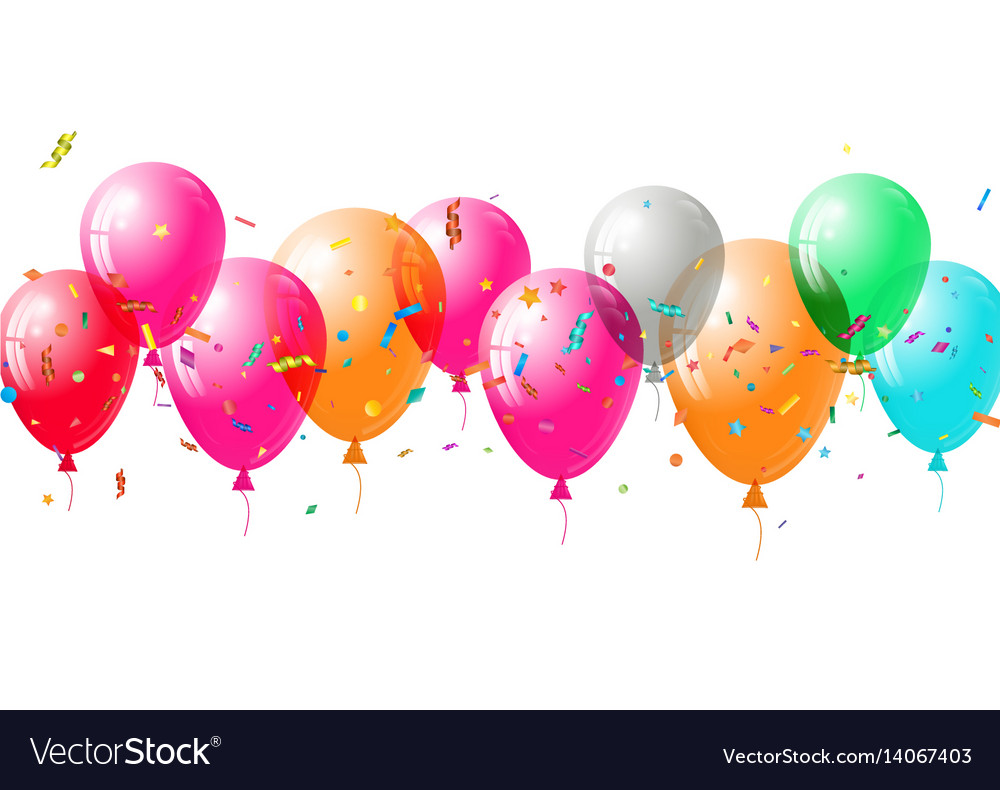 Abstract colorful confetti and balloons background