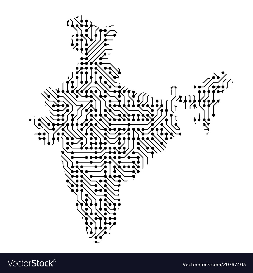 Abstract schematic map of india from the black