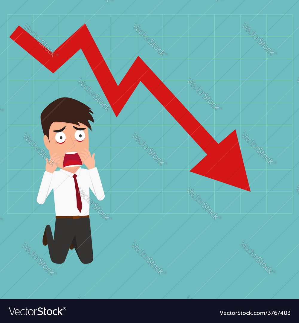 Business failure down trend graph make shocked vector 3767403