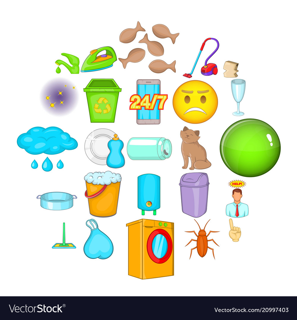 Cleaning icons set cartoon style