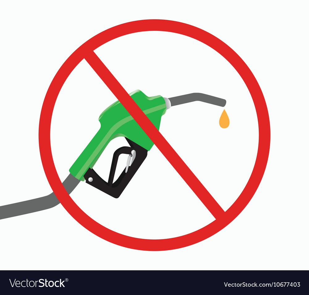 Fuel pump with ban or stop icon and drop gasoline