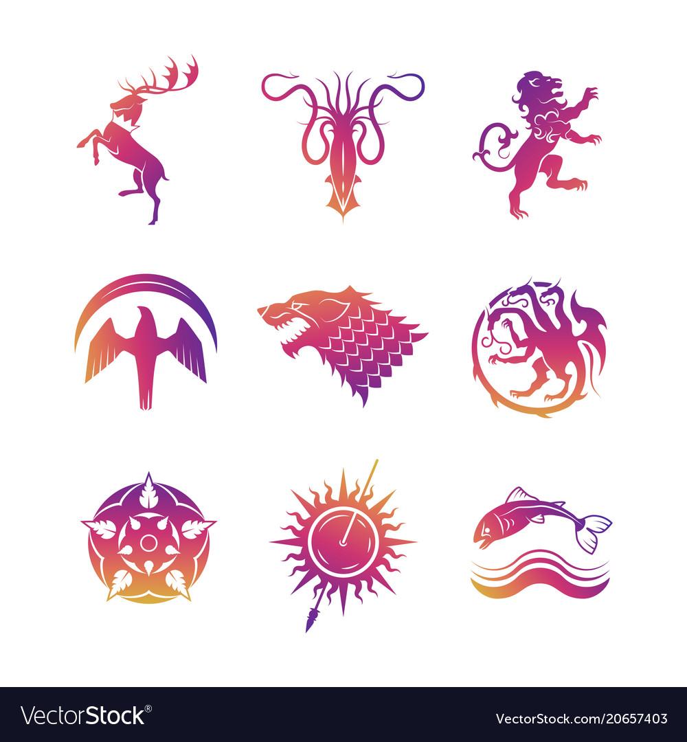 Heraldic icons with animals