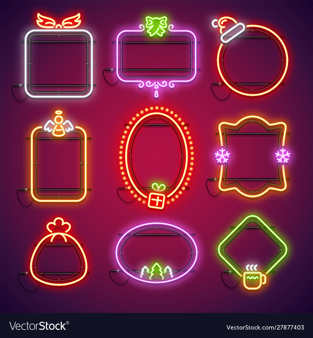 Merry christmas neon frames set