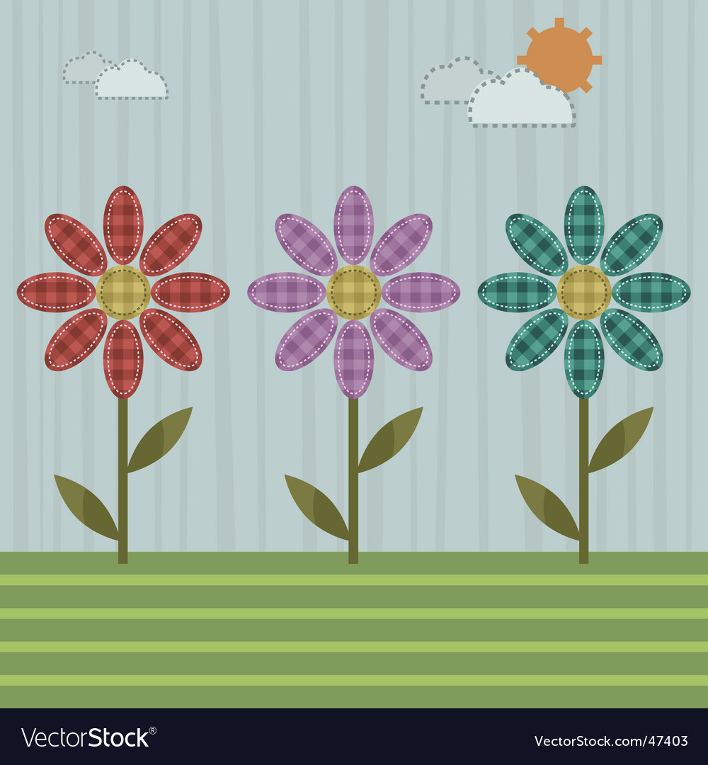Patchwork flowers vector image