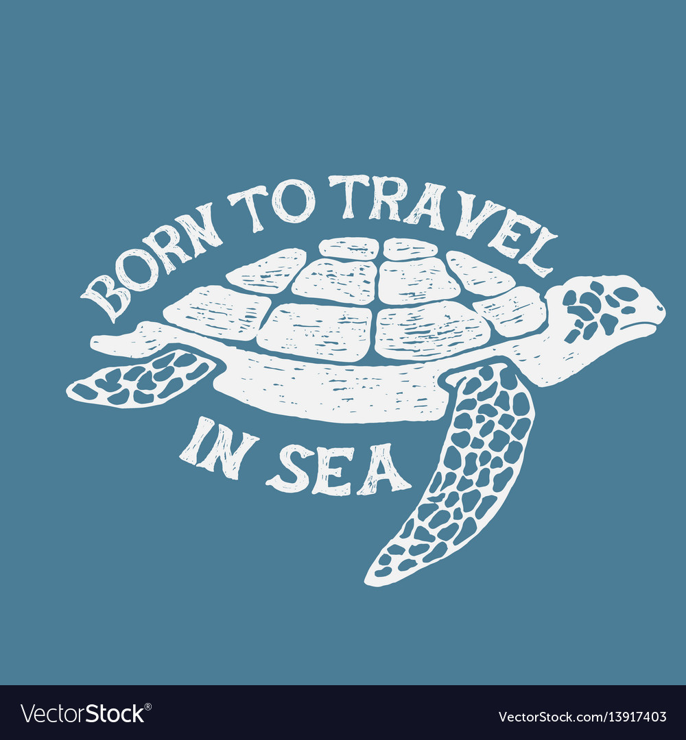 Sea turtle vintage label