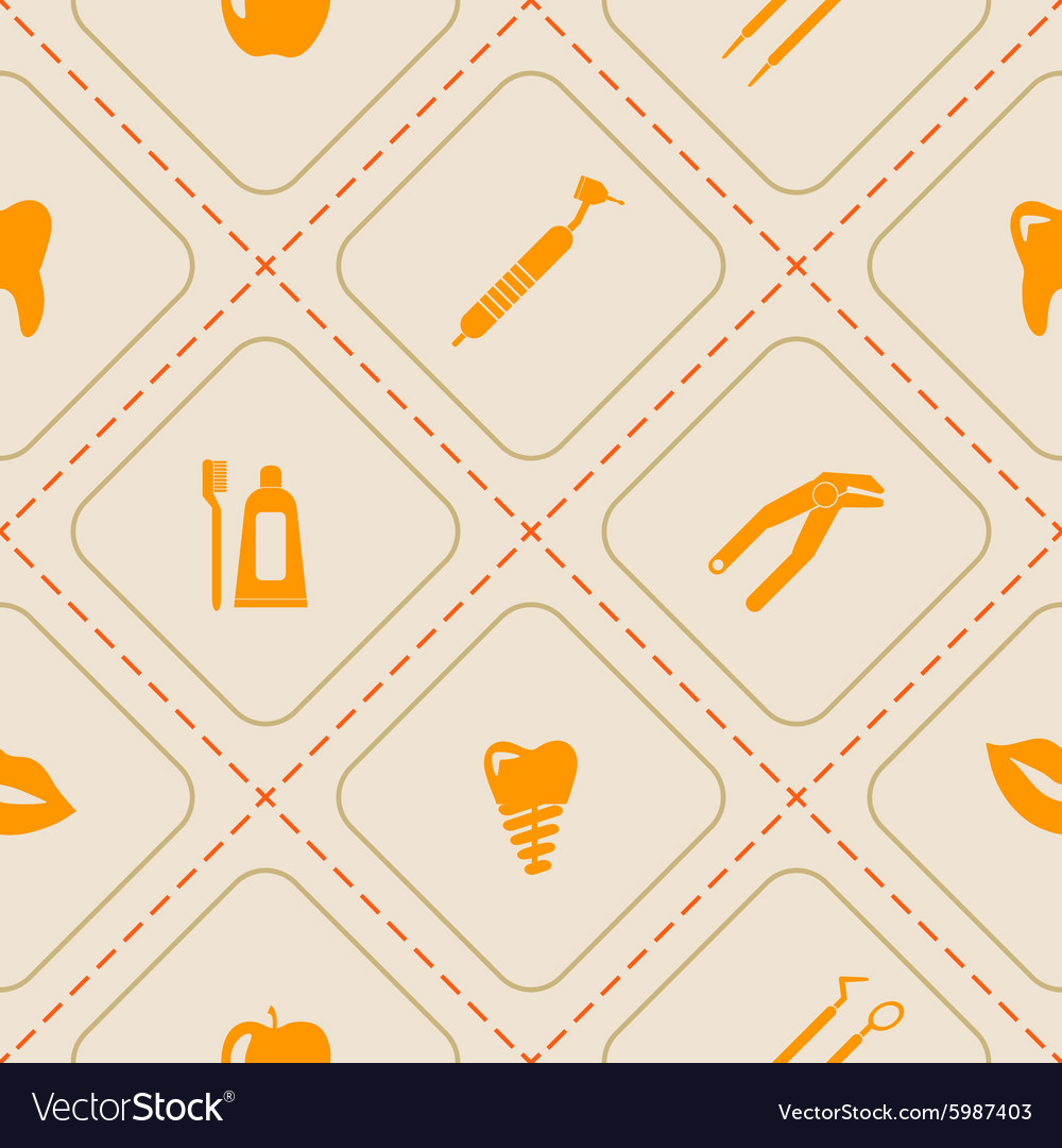 Seamless background with dental symbols