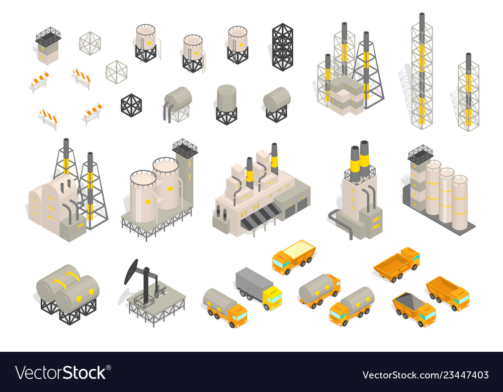 Set industrial factories plant building and