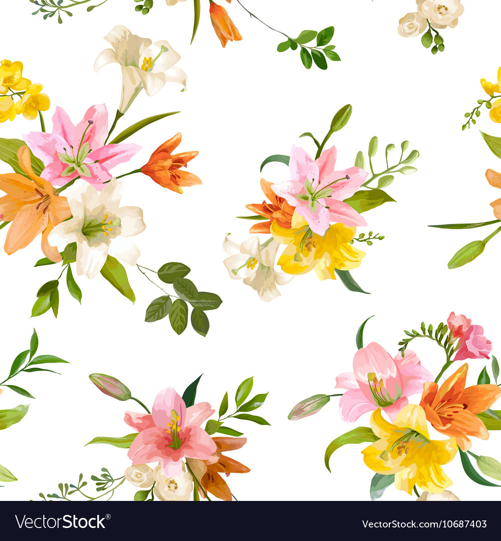 Spring lily flowers backgrounds seamless pattern spring lily flowers backgrounds seamless pattern vector image izmirmasajfo