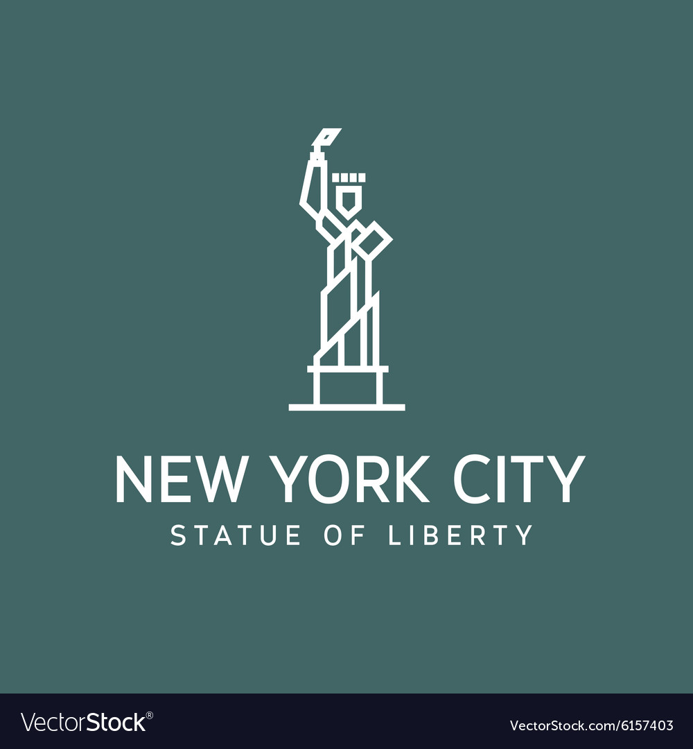 Statue of Liberty outline logo into flat