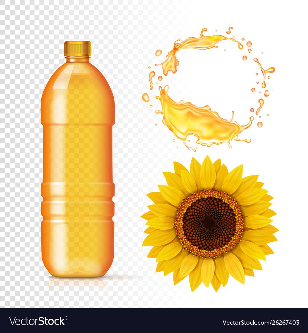 Sunflower oil in bottle oil realistic splash