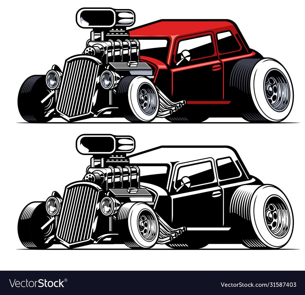 Vintage american hot rod car with big engine