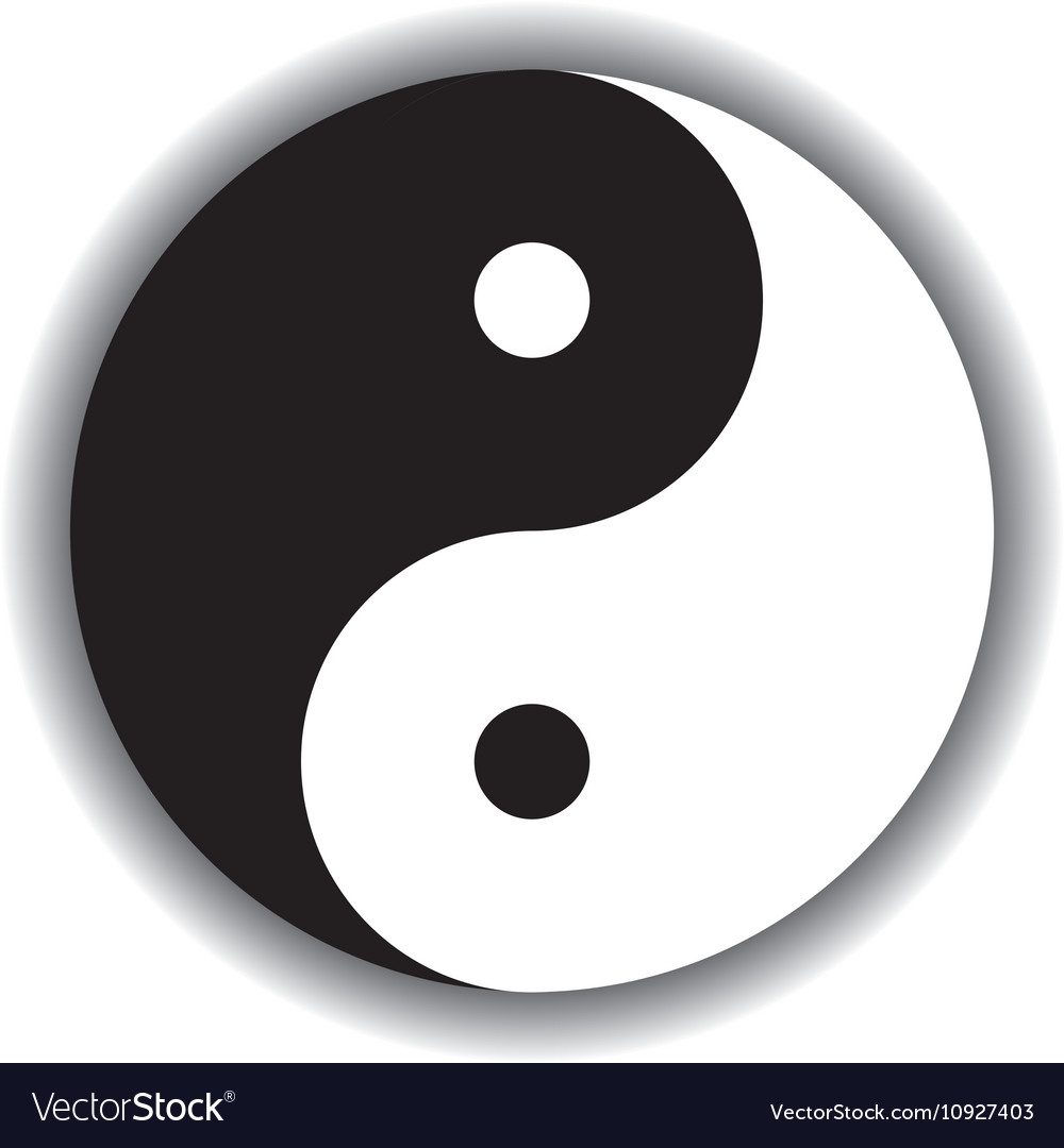 competitive price 48341 435ff Yin Yang symbol icon in black and white vector image