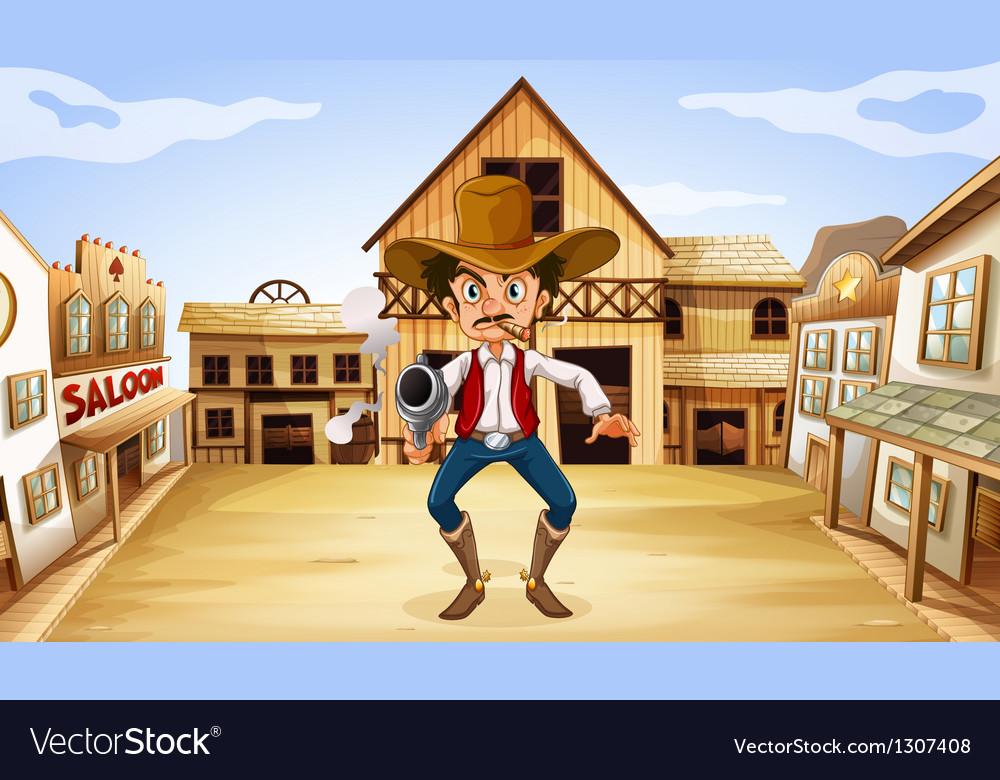 An armed man near the saloon vector image