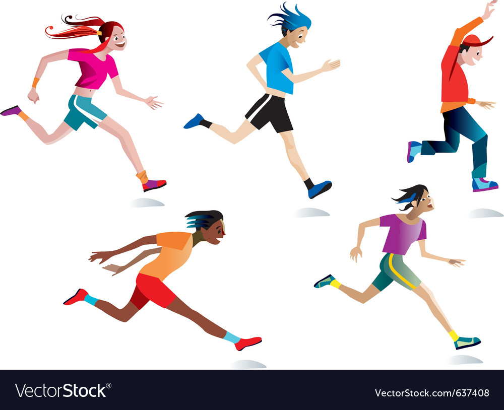 96aea0ceb842 Boys and girls running Royalty Free Vector Image