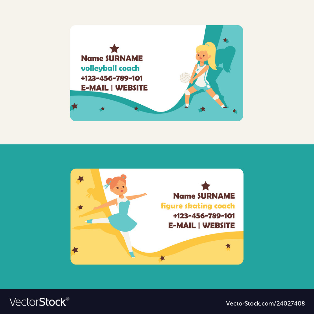 Child in sport business card girl character