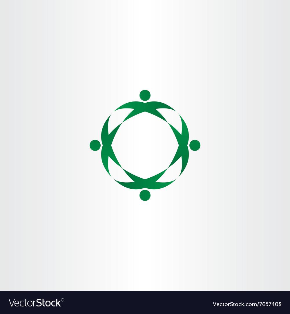 Circle green people celebrate party logo icon