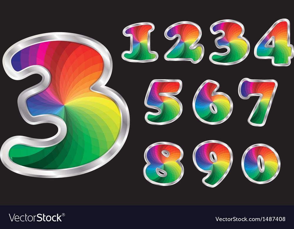 Colorful rainbow numbers set with silver frame vector image