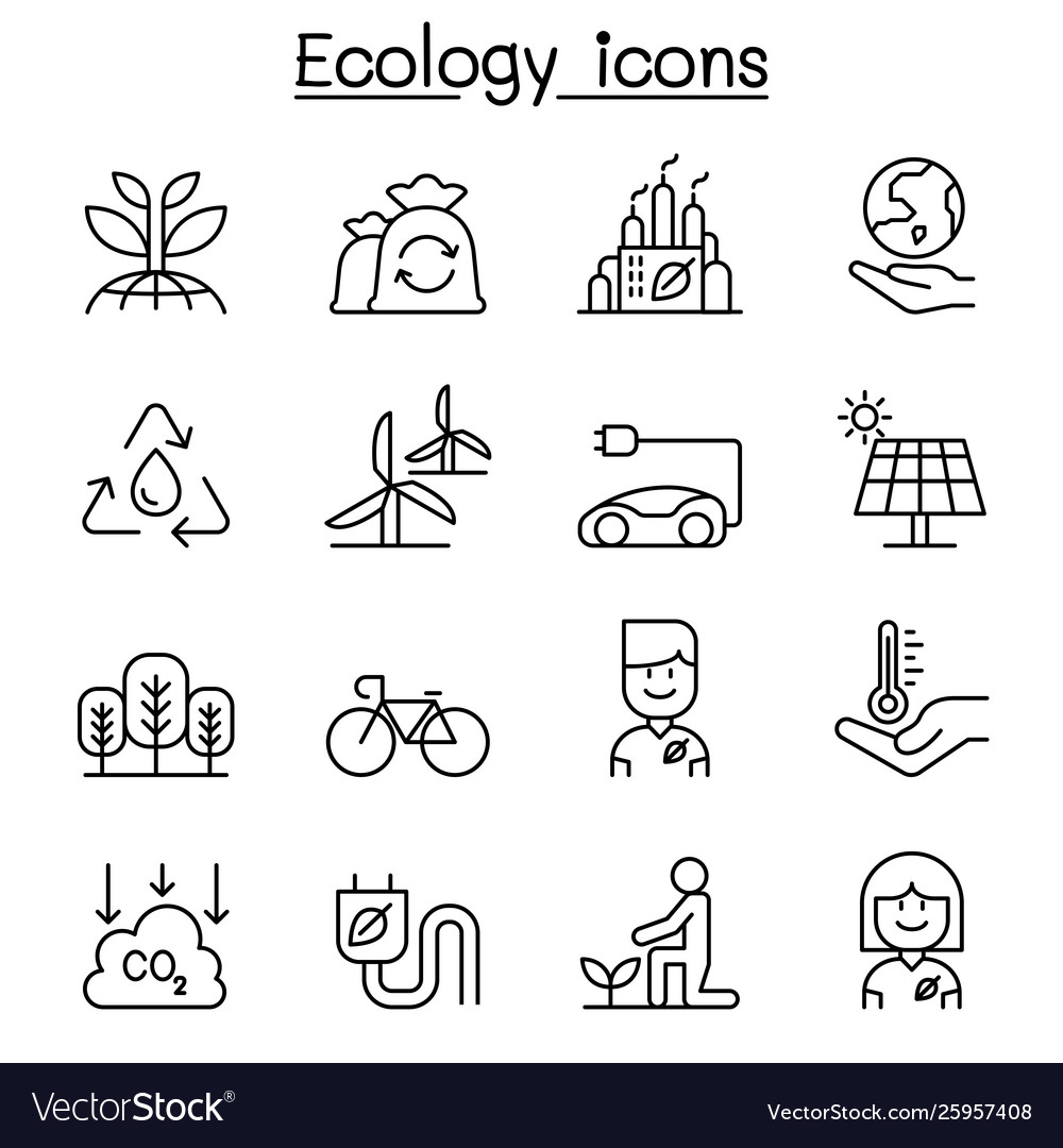 Ecology environmental icon set in thin line style