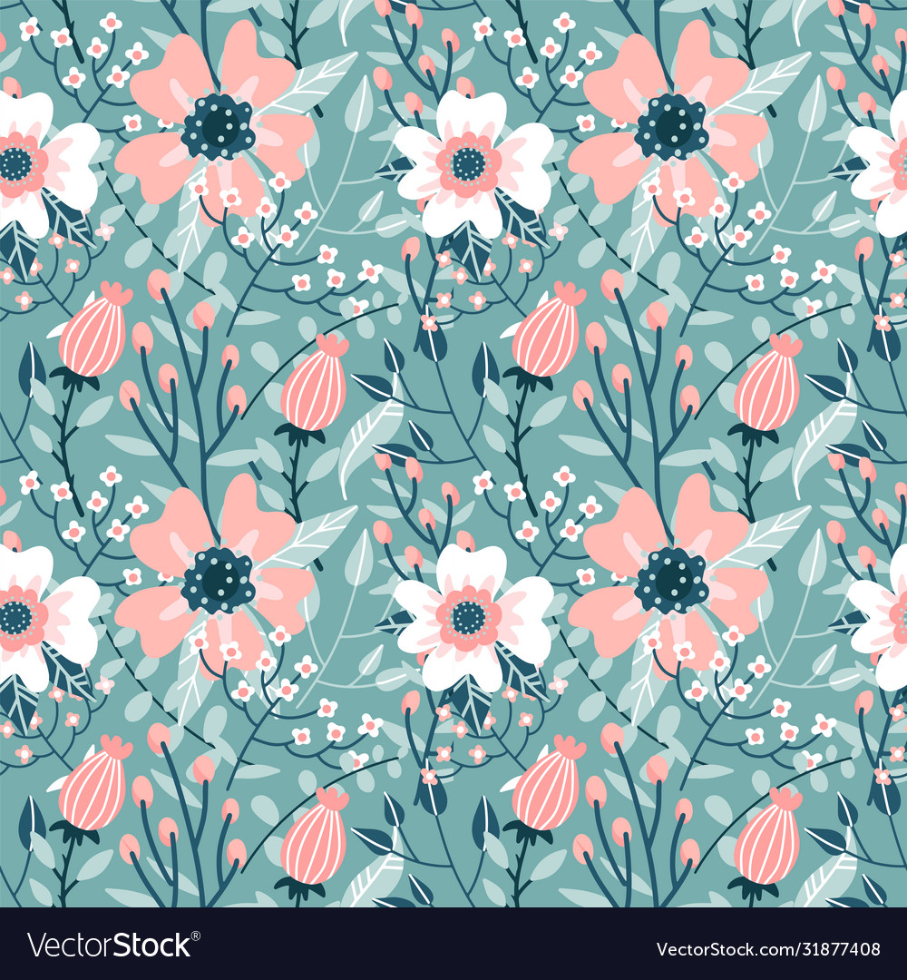 Elegant seamless pattern with pink dog-rose