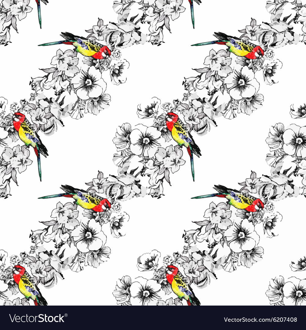 Exotic birds parrot with flowers colorful seamless