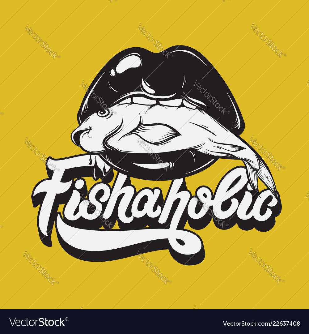 Fishaholic handwritten lettering made in 90s