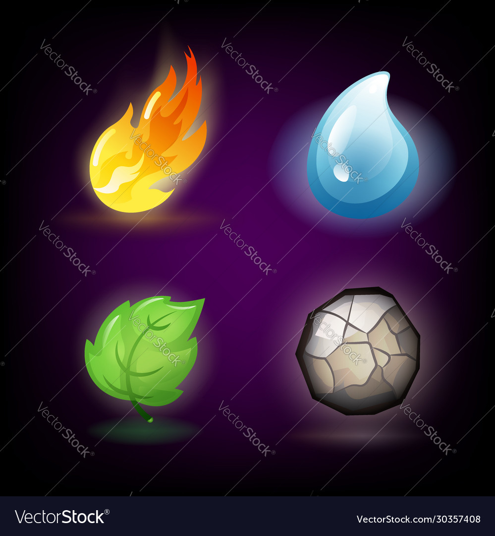 Four forces or nature elements - water fire