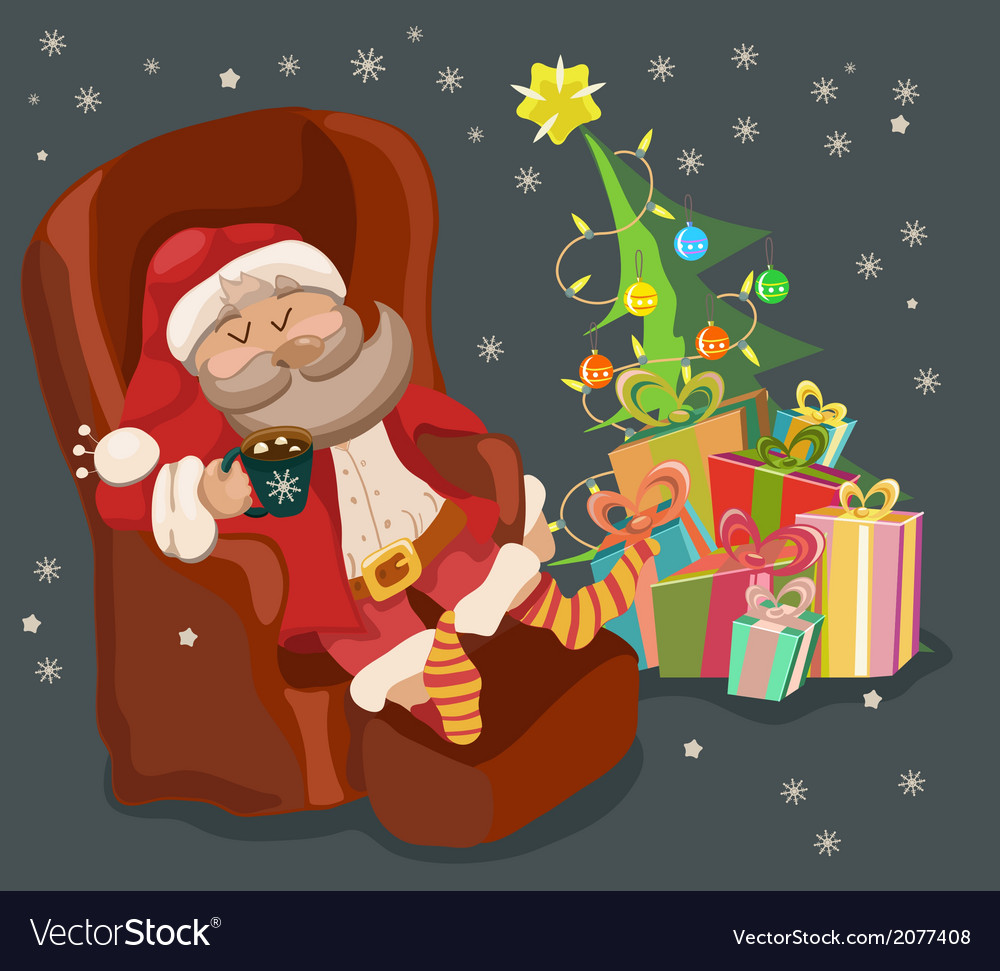 Funny Color Christmas background with Santa Claus