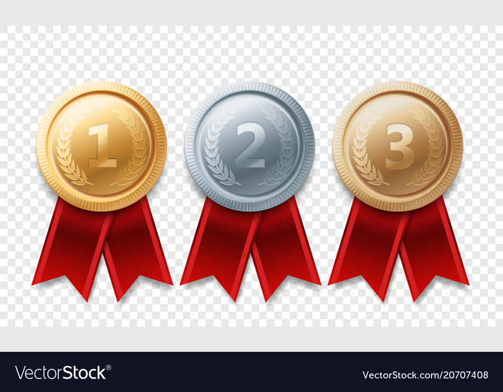 Gold silver bronze champion medal awards vector image