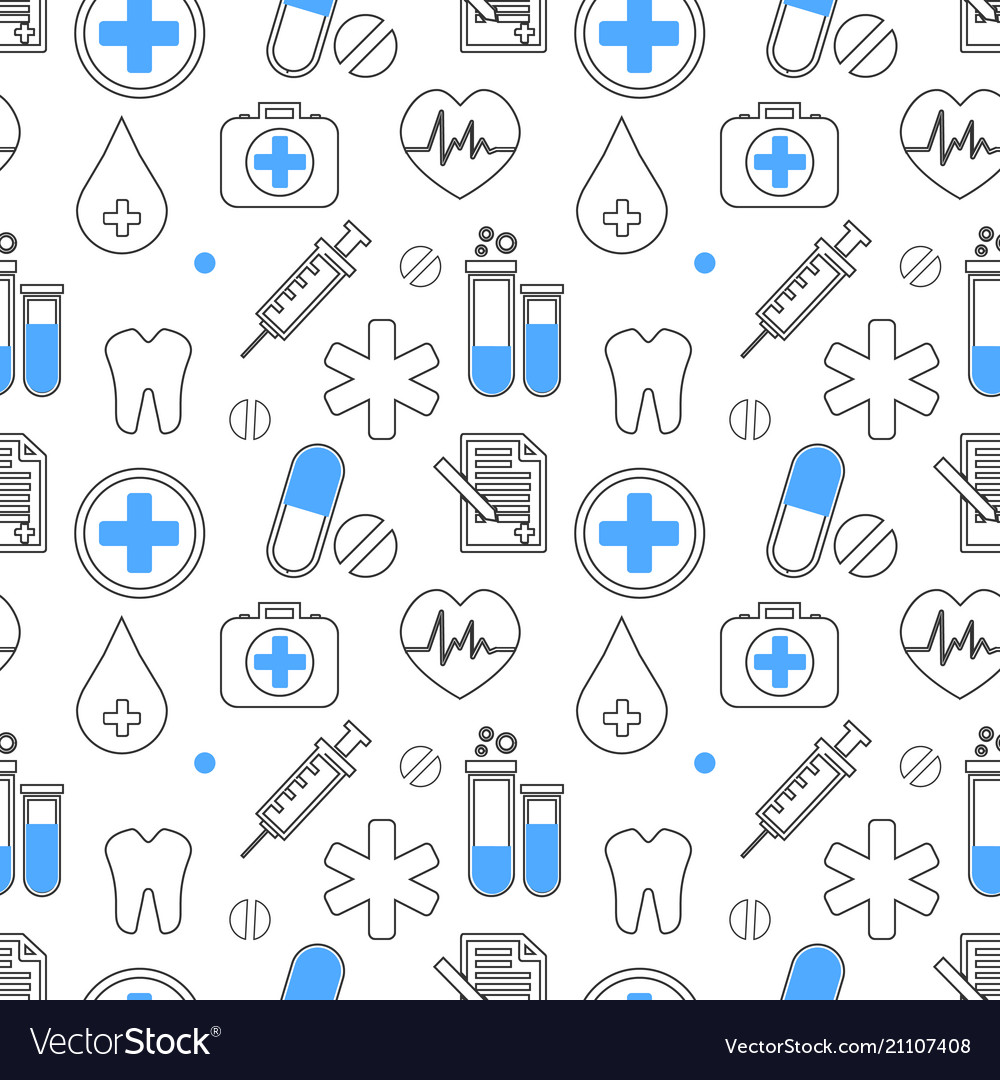 Medical icons seamless pattern health care
