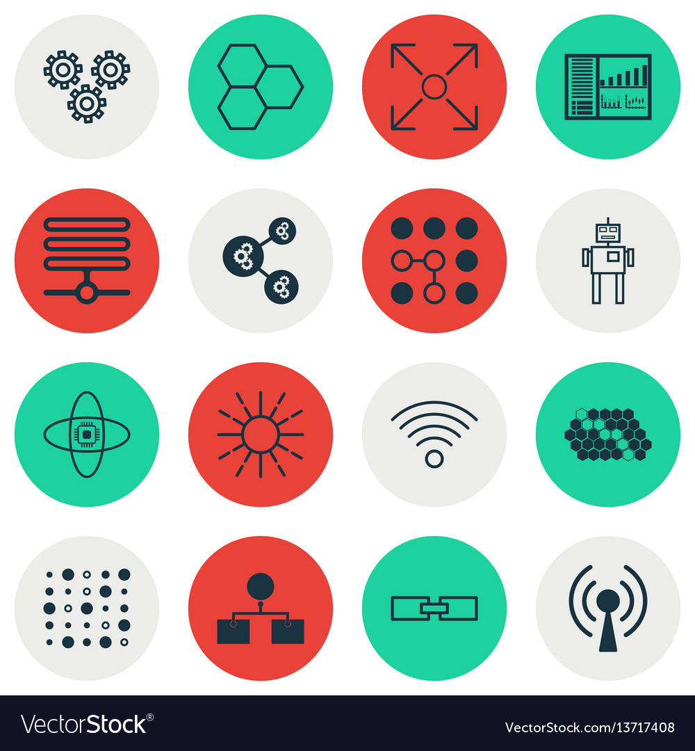 Set of 16 machine learning icons includes